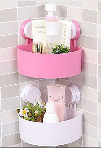 Bathroom Organizer Shower Shelf Plastic Suction Cup Corner Storage Rack One Piece Material Abs Pl Bathroom Shelves Bathroom Storage Bathroom Organisation