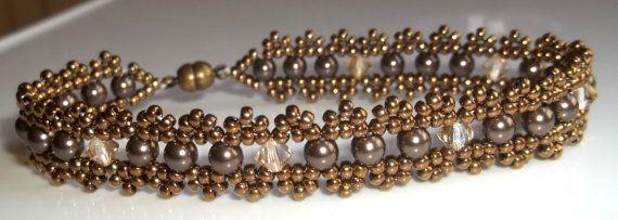 Swarovski Crystal and Pearl Woven Bracelet in Brown by BeBoDesigns, $24.00