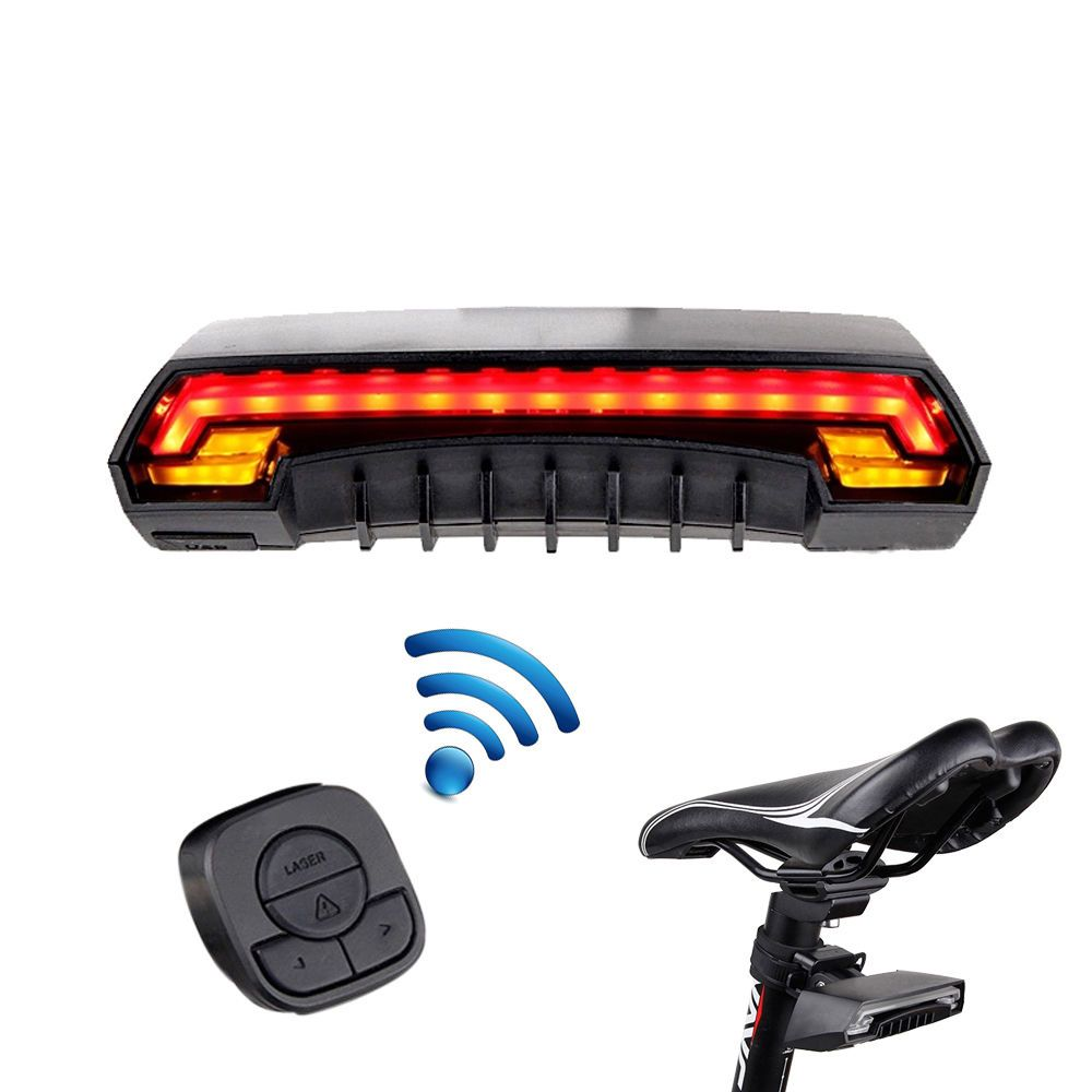 Bicycle Turn Signal Bike Rear Tail Light Laser 85 LM LED Indicator Rechargeable