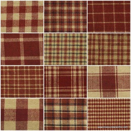 """תוצאת תמונה עבור Homespun 18""""x21"""" Fat Quarters - Red"""