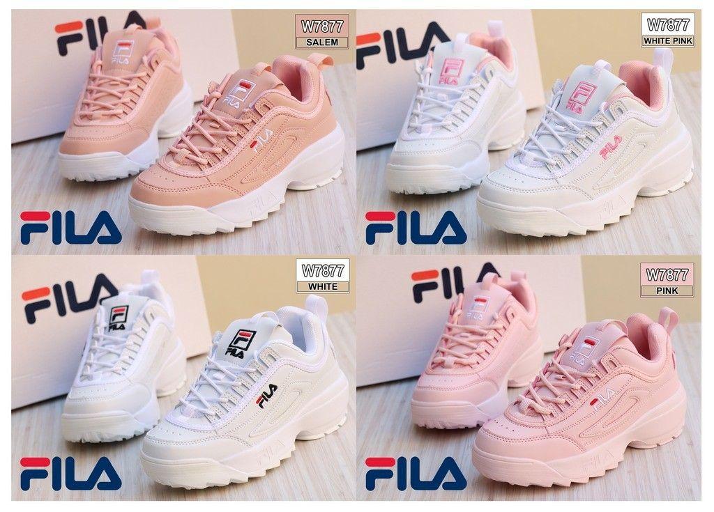 Sneaker Shoes Fila W7877 Bahan Kulit Sintetis Kualitas Semi
