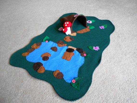 "Fairy Play Mat. About 19"" by 26"". Fairy Garden. Fairy Tale. Felt. Eco-Friendly. READY TO SHIP."