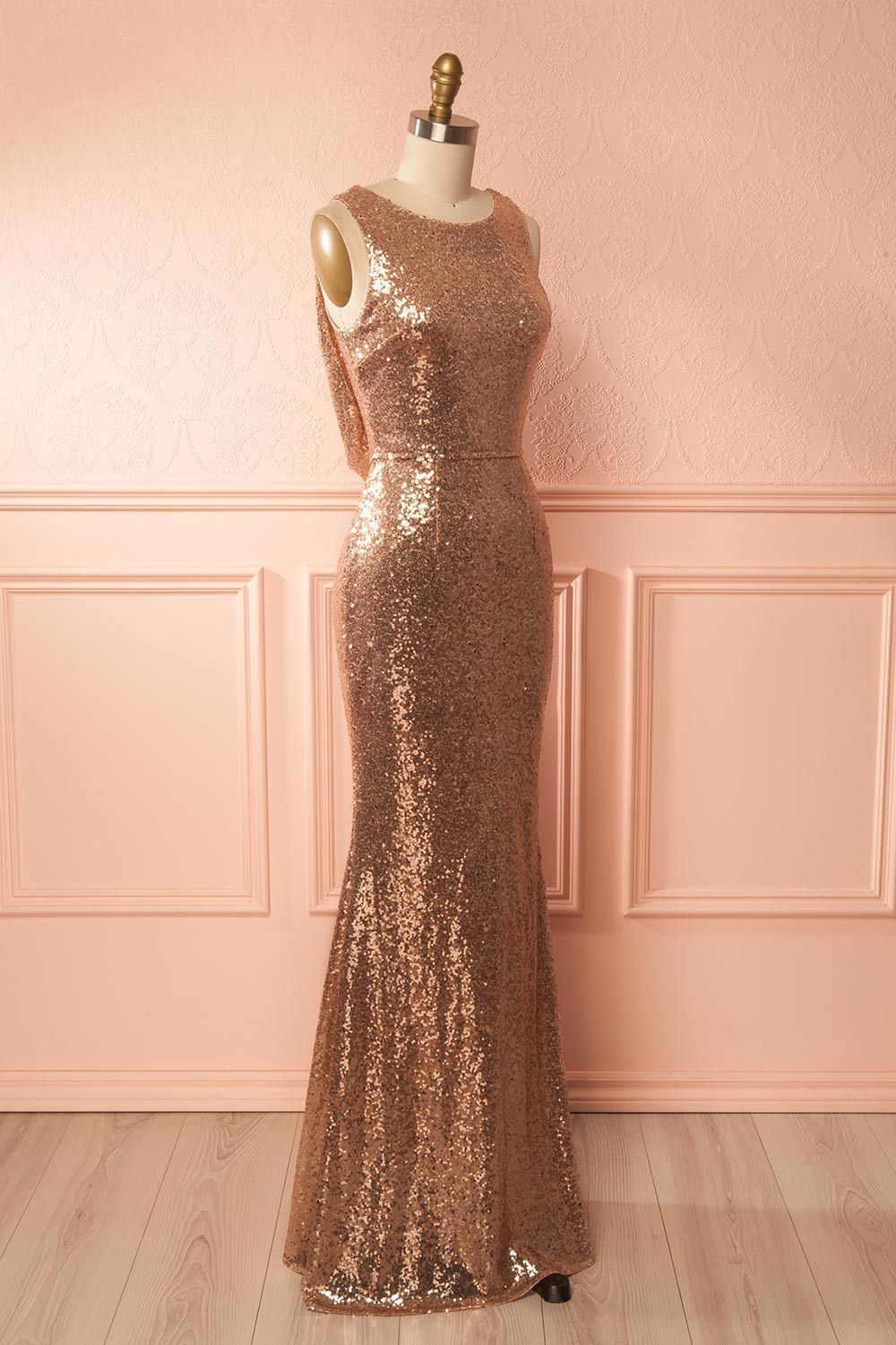 rose gold sequin sleeveless mermaid prom dressformal gown with