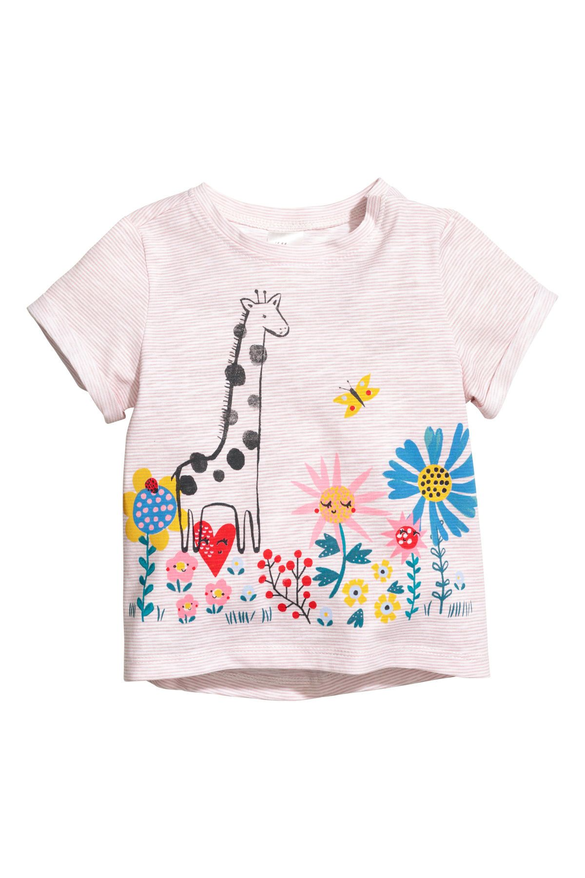 d35639d9 Jersey Top with Printed Design | Pink/giraffe | KIDS | H&M US ...