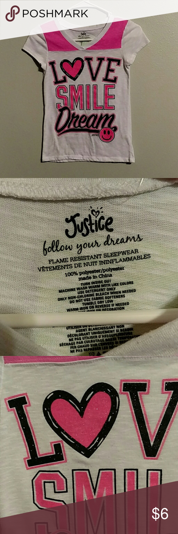 """Justice Love Smile Dream T Shirt Size 10 Nice little shirt for the fashion conscious girl! Across the front at the underarm is 13"""" and the shoulder to the hemline is 22"""" Very nice pre-owned condition. Justice Shirts & Tops Tees - Short Sleeve"""