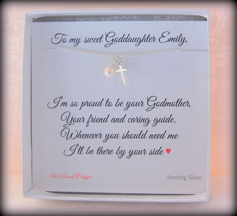 GODDAUGHTER Gift Baptism For Goddaughter First Communion Birthday Tiny Cross And Pearl Personalized Card