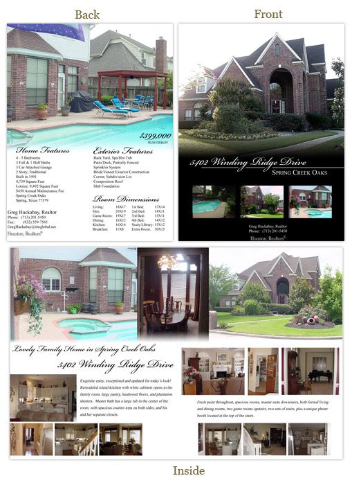 New Home Brochure Template Real Estate Listing Brochure 85 X