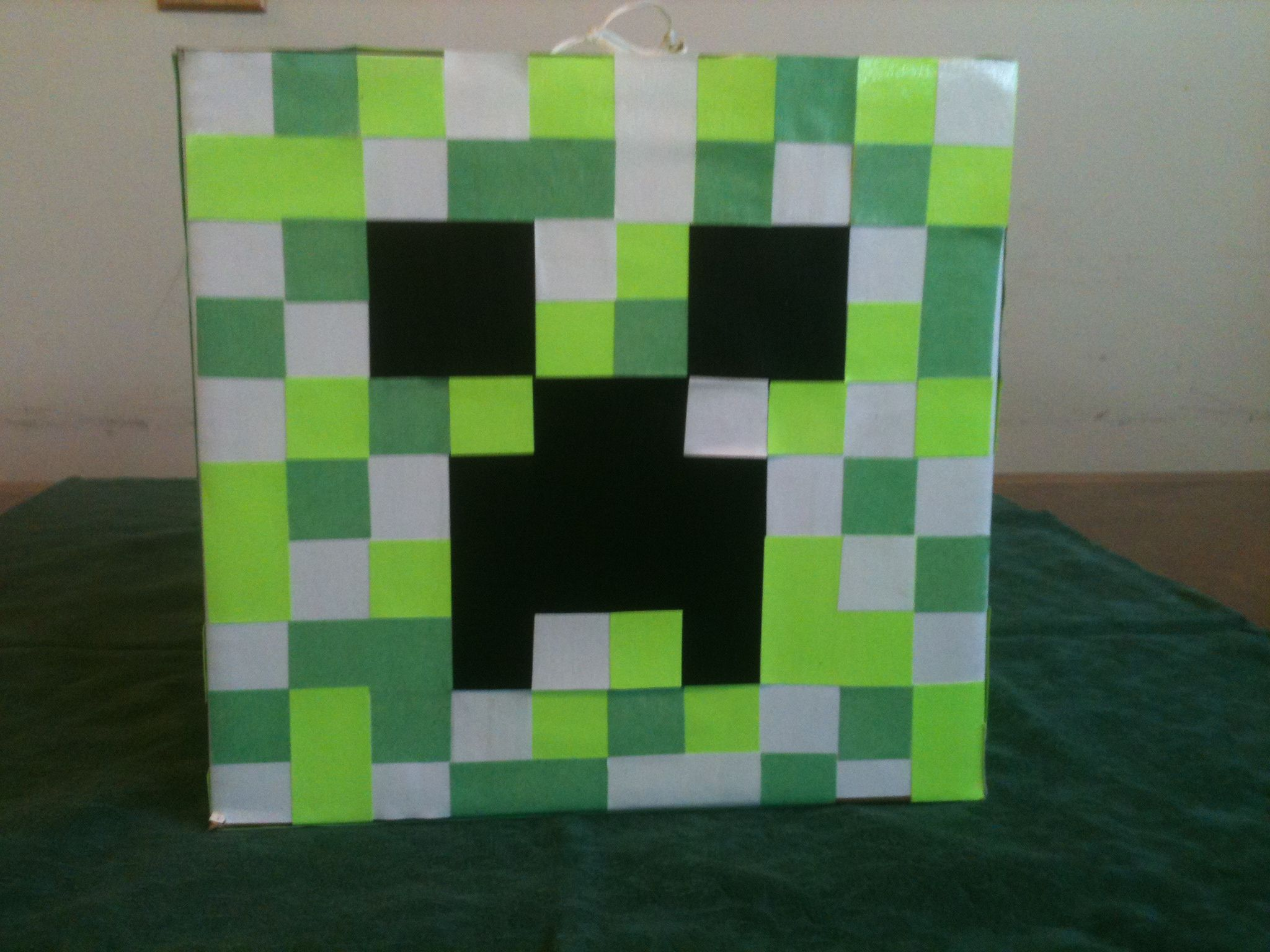 Minecraft creeper head pinata I made with a box from Kinkou0027s and square bits of paper & Minecraft creeper head pinata I made with a box from Kinkou0027s and ... Aboutintivar.Com