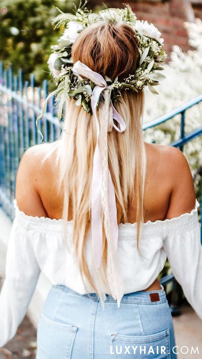 Easy quick hairstyle with flowers perfect for spring summer add a beautiful flower crown to any outfit for an instantly elevated elegant look check izmirmasajfo