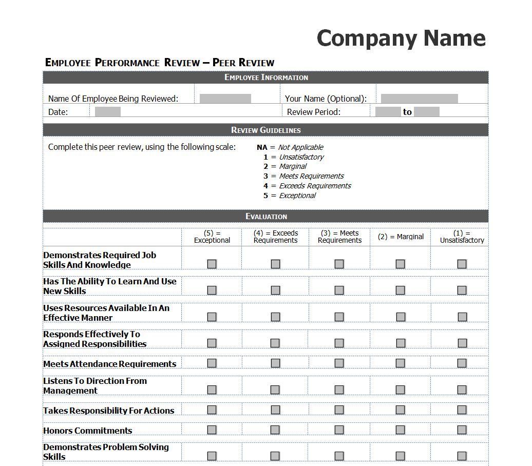 Employee Evaluation Template Excel images – Employee Performance Review
