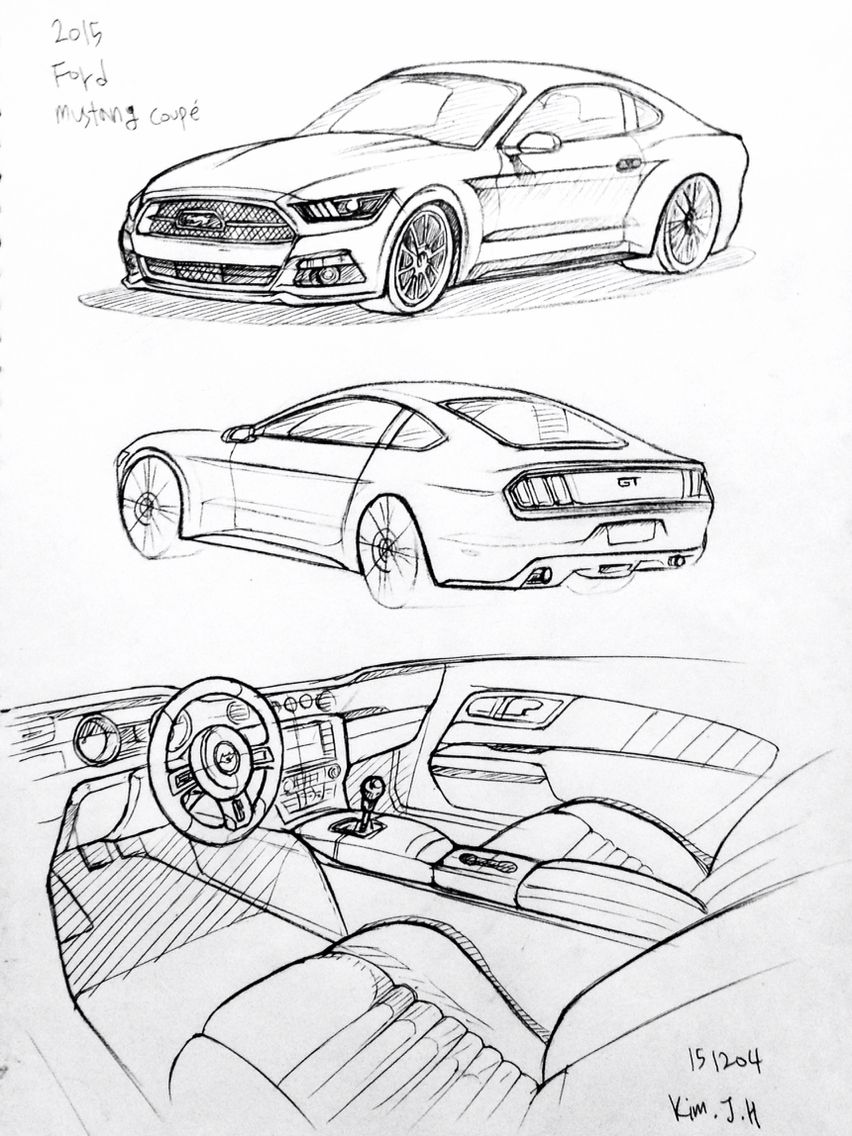 car drawing 151204 2015 ford mustang prisma on paper kim j h my stuff pinterest malen. Black Bedroom Furniture Sets. Home Design Ideas