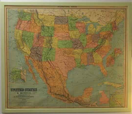 Framed Vintage Us Map Sold In The Shop Now Pinterest