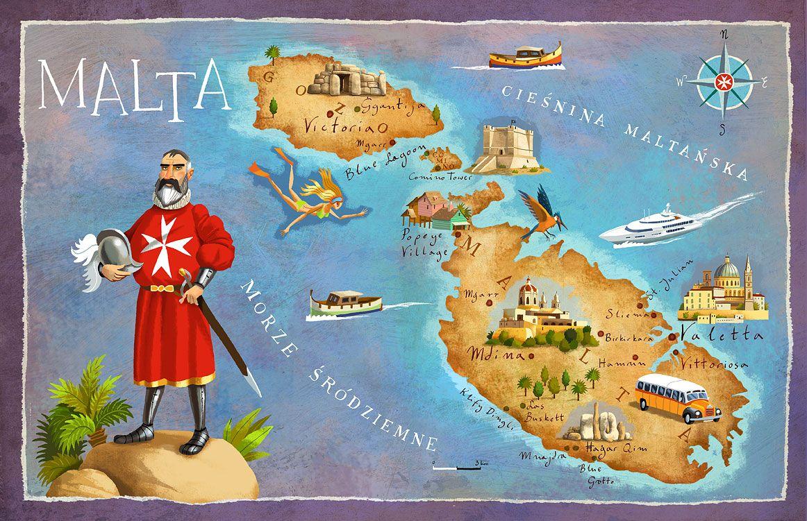 Malta By Adam Pekalski Malta Map Malta Illustrated Map