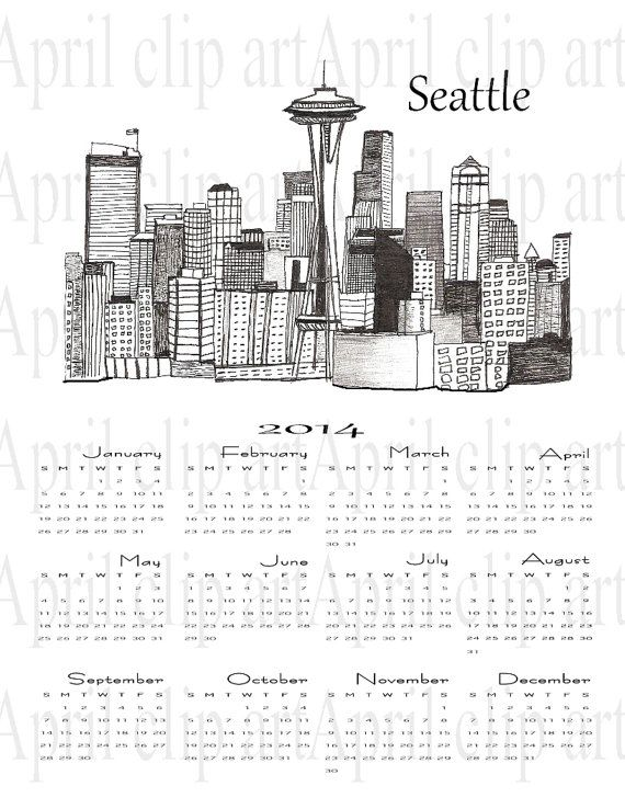 2014 Wall Calendar with a Seattle Skyline sketch by