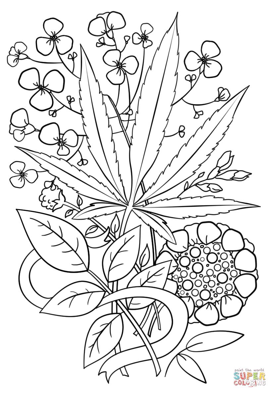 Ausmalbild: Trippy Weed. Kategorien: Psychedelische Kunst ...
