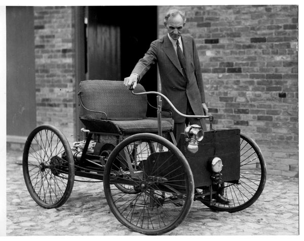 Henry Ford With His First Car The Ford Quadricycle Henry Ford