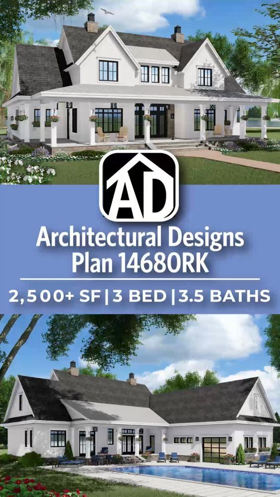 Architectural Designs Farmhouse House Plan 14680RK gives you 3 bedrooms, 3.5 baths and 2,500+ sq. ft. Ready when you are! Where do YOU want to build? #146780K #adhouseplans #architecturaldesigns #houseplans #architecture #newhome #farmhouse #modernfarmhouse #newconstruction #newhouse  #homeplans #architecture #home #homesweethome