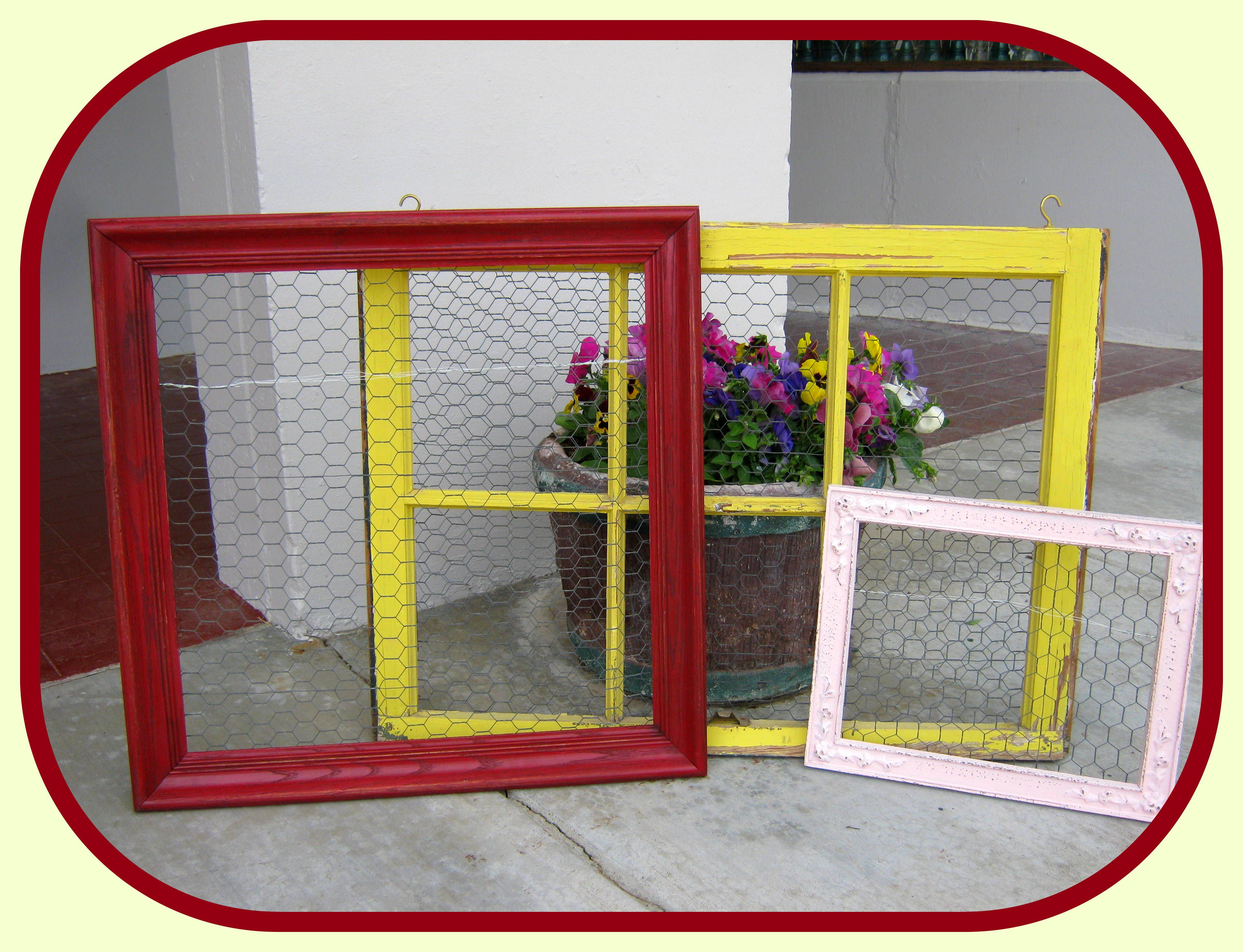 Vintage Salvaged Windows Frames With Chicken Wire To