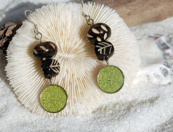 Tribal Hippie Earrings with a Trippy Green Pendant