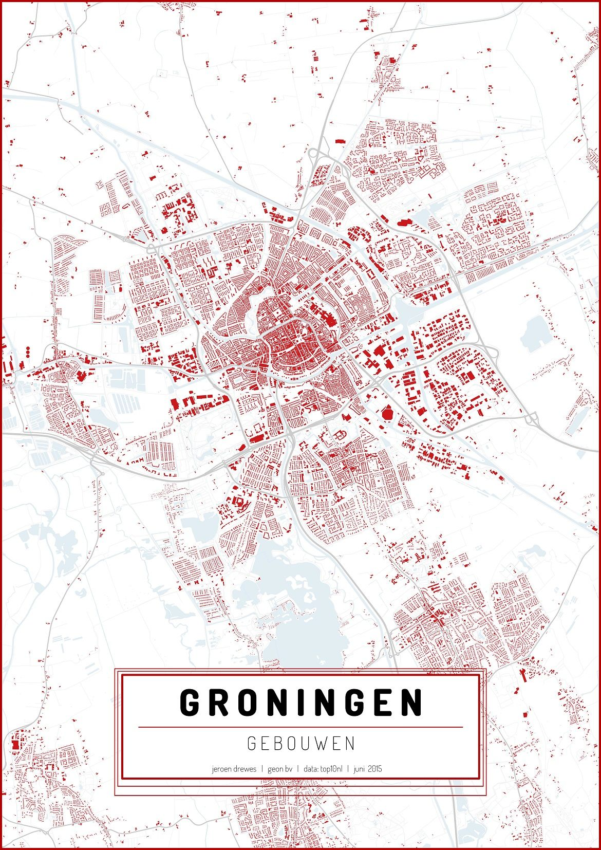 This map is a modern representation of the city of Groningen. It ...