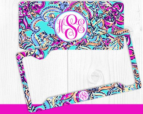 Aqua Purple Paisley Monogram License Plate Frame Holder Metal Wall ...
