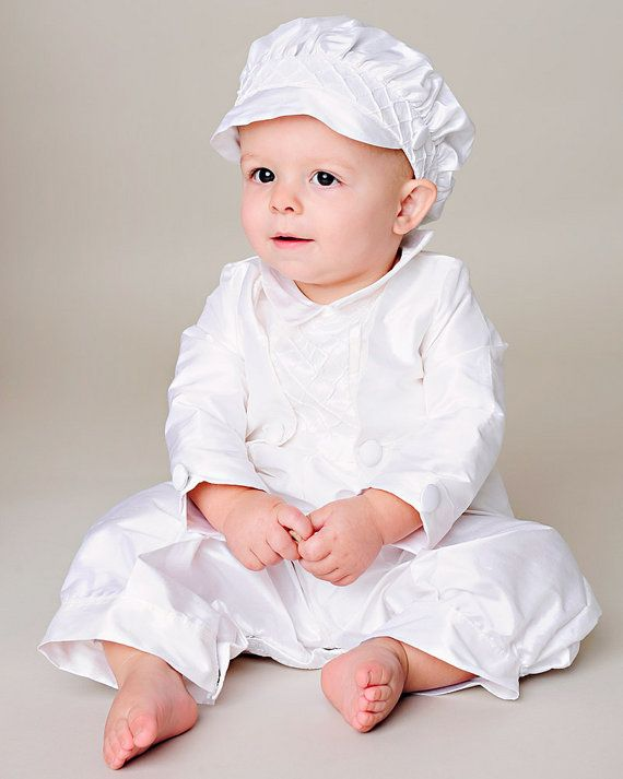 54a98e329 This handsome outfit is sure to impress. Made of silk dupioni this christening  romper is