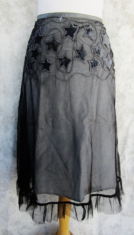 FREE PEOPLE Skirt SIZE 5 NEW Sheer Black over Gray Lining Ruffle Hem Festive #1 #FreePeople #ALine