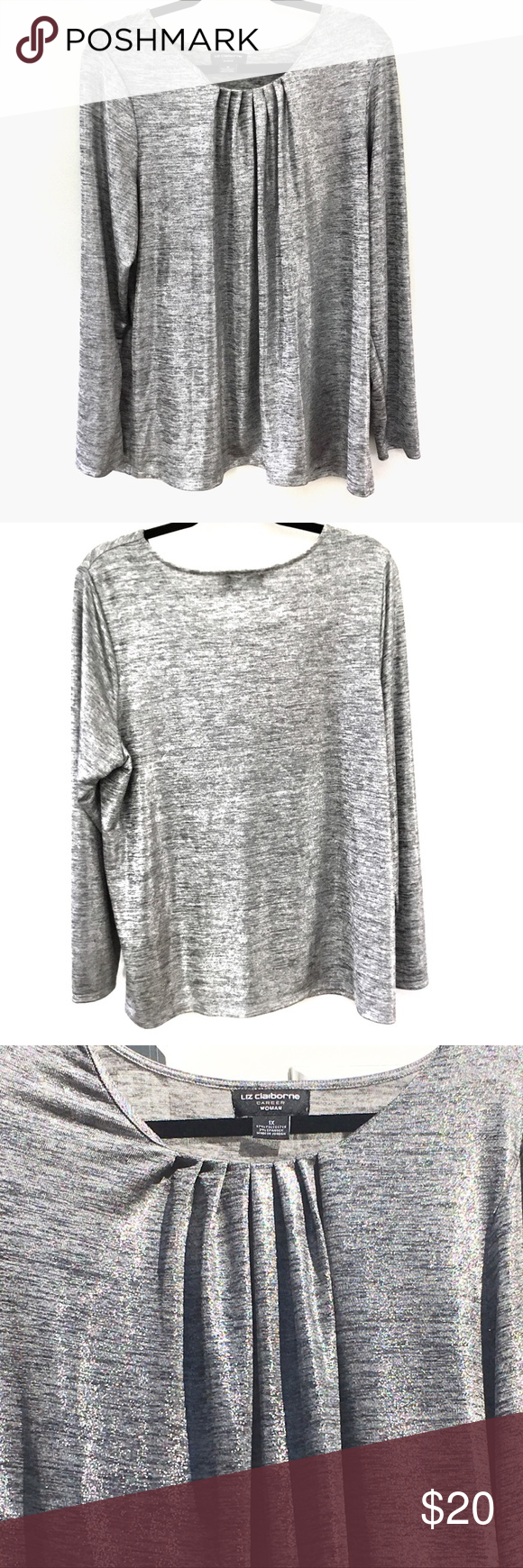 Sparkly silver scoop neck stretch top Size XL.