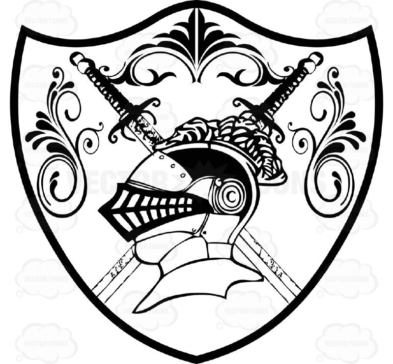 Coat of arms knight helmet. Black and white s