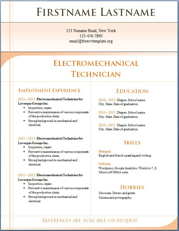 CV Template CV Template Pinterest Cv template, Cv format and