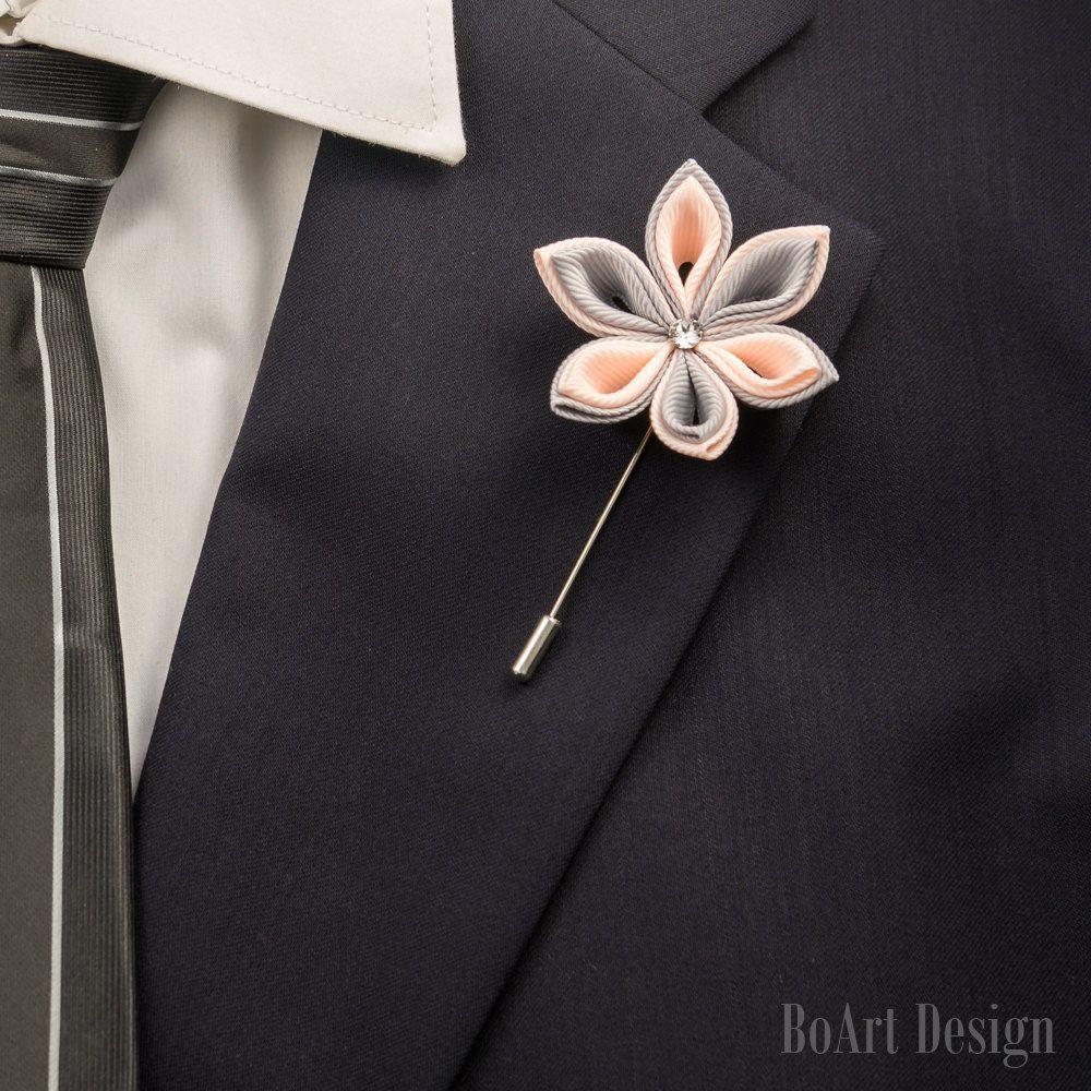 Mens jacket brooch - Lapel Pin Light Pink Gray Kanzashi Flower Lapel Pin Swarovski Crystal Lapel Flower Mens Lapel Flower Wedding Accessories Brooch