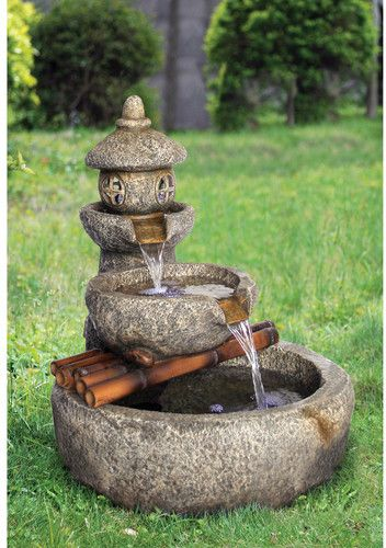 Resin Pagoda Garden Tiered Fountain With Led Light In 2020 Pagoda Garden Water Fountains Outdoor Fountain