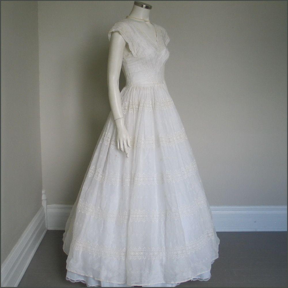 S vintage wedding dresses vintage s white voile summer