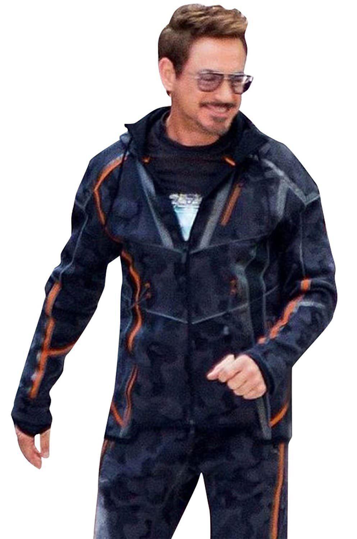 AvengersInfinityWar 2018  TonyStarkRDJ Camouflage  MensHoodieJacket   TonyStarkJacket which he wears in the latest  MarvelAvengers  InfinityWar. b5ede38f5f