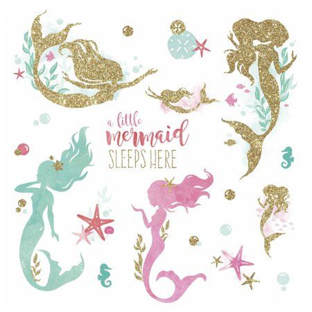 Mermaid Peel and Stick Wall Decals with Glitter, Gold