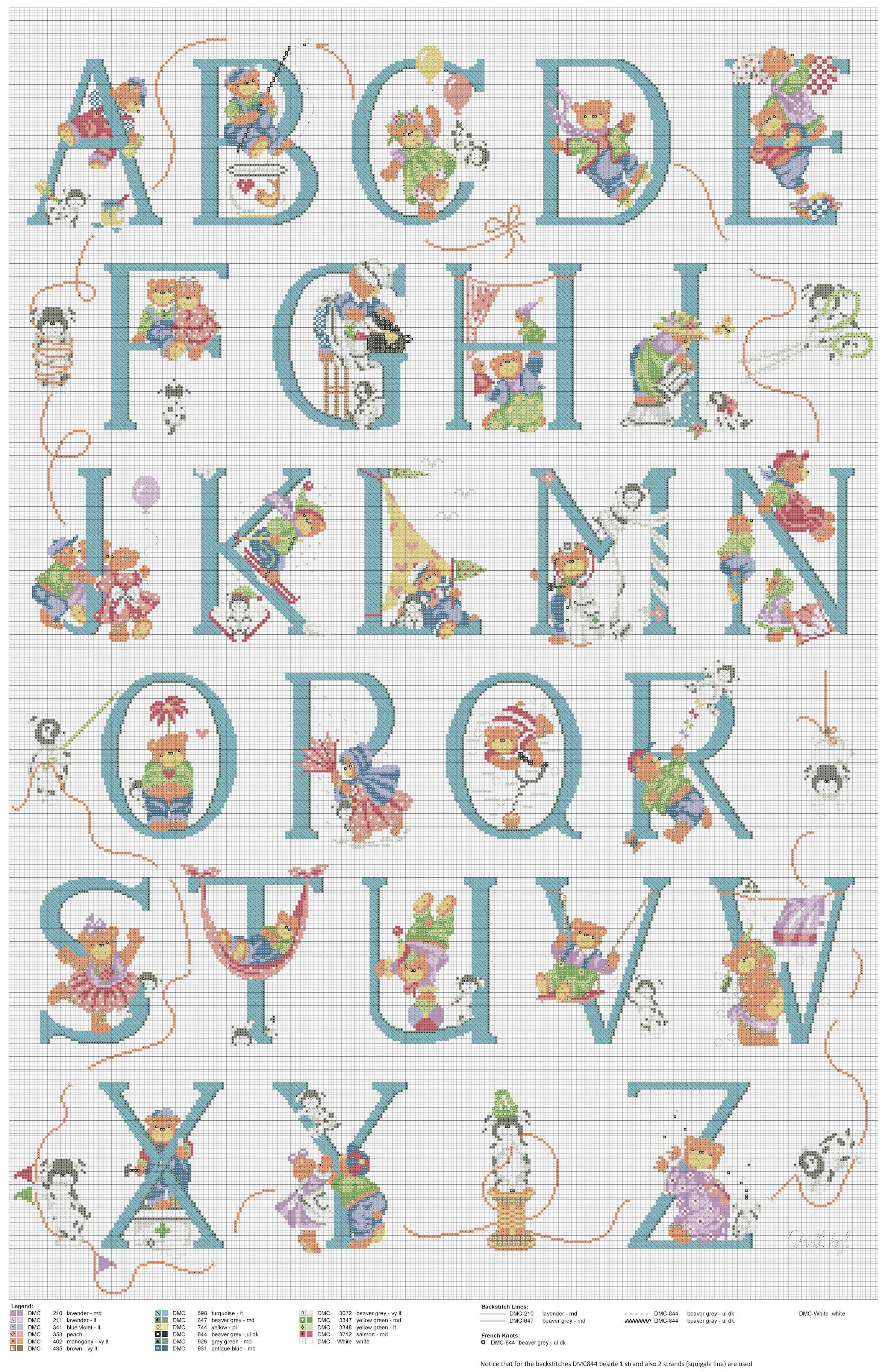 Cross stitch / Point de croix / Punto cruz / Punto croce Bears ABC ...