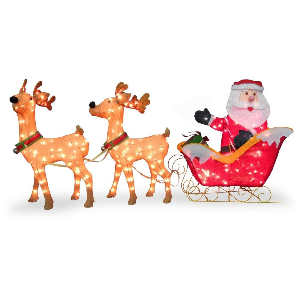 33 5in Lit Santa In Sleigh With Deer National Tree Company In 2020 Reindeer Decorations Decorating With Christmas Lights Outdoor Holiday Decor