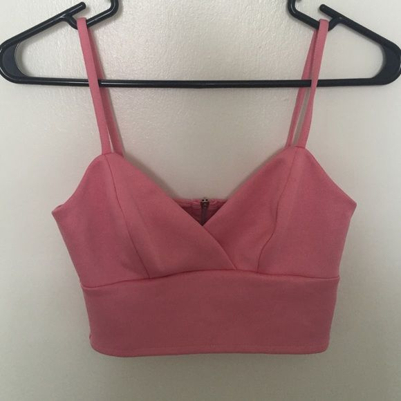 Pink Topshop bra top Fitted pink bra top. Worn once. US size 2 Topshop Tops Crop Tops