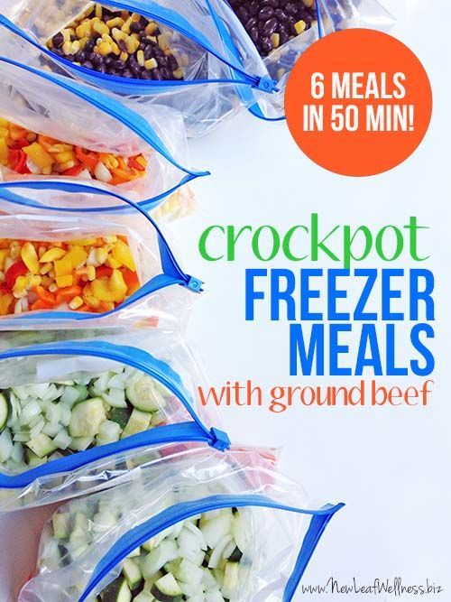 Six Ground Beef Crockpot Freezer Meals In 50 Minutes The Family Freezer Freezer Meal Prep Freezer Crockpot Meals Slow Cooker Freezer Meals