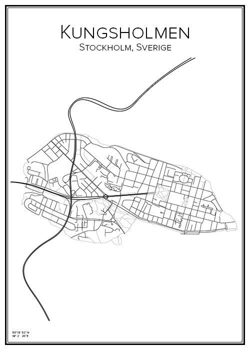 karta kungsholmen Kungsholmen | City print, Stockholm and City karta kungsholmen