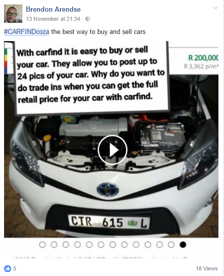 Screenshot from one of our #CARFINDcoza influencers. #InfluencerMarketing #WordOfMouthAdvertising #theSALT