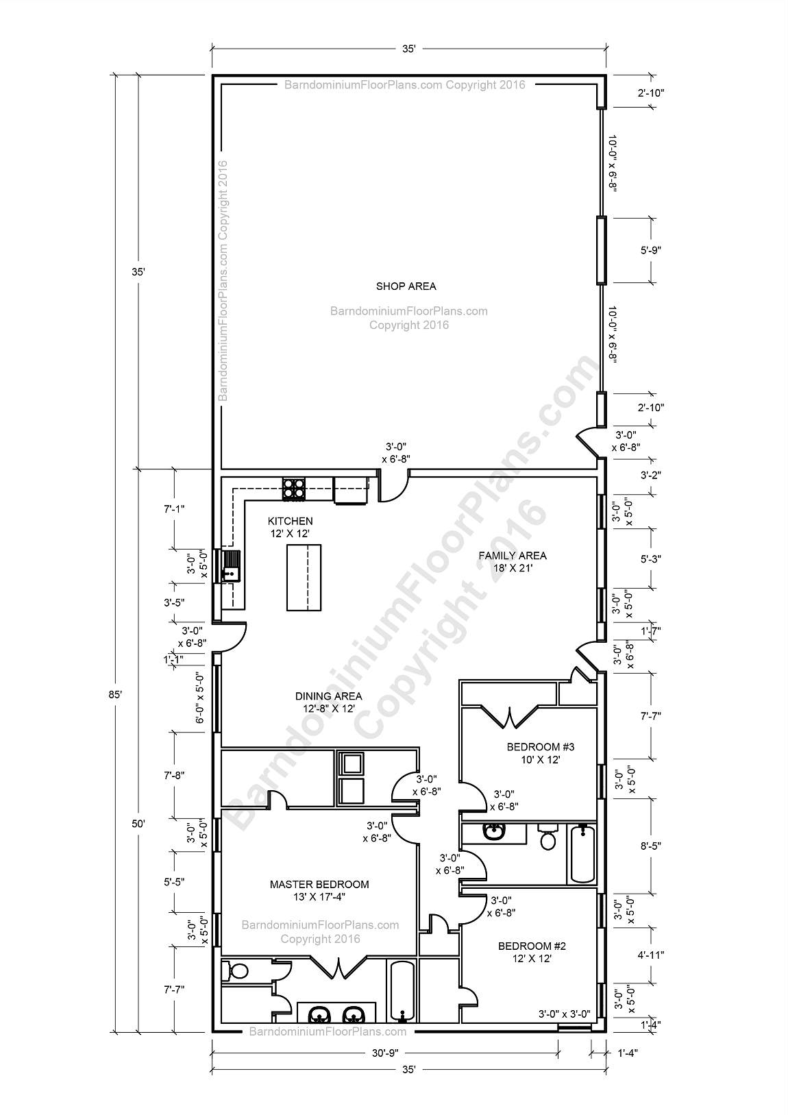 Best 25 barndominium floor plans with various type size for 30x50 metal building house plans