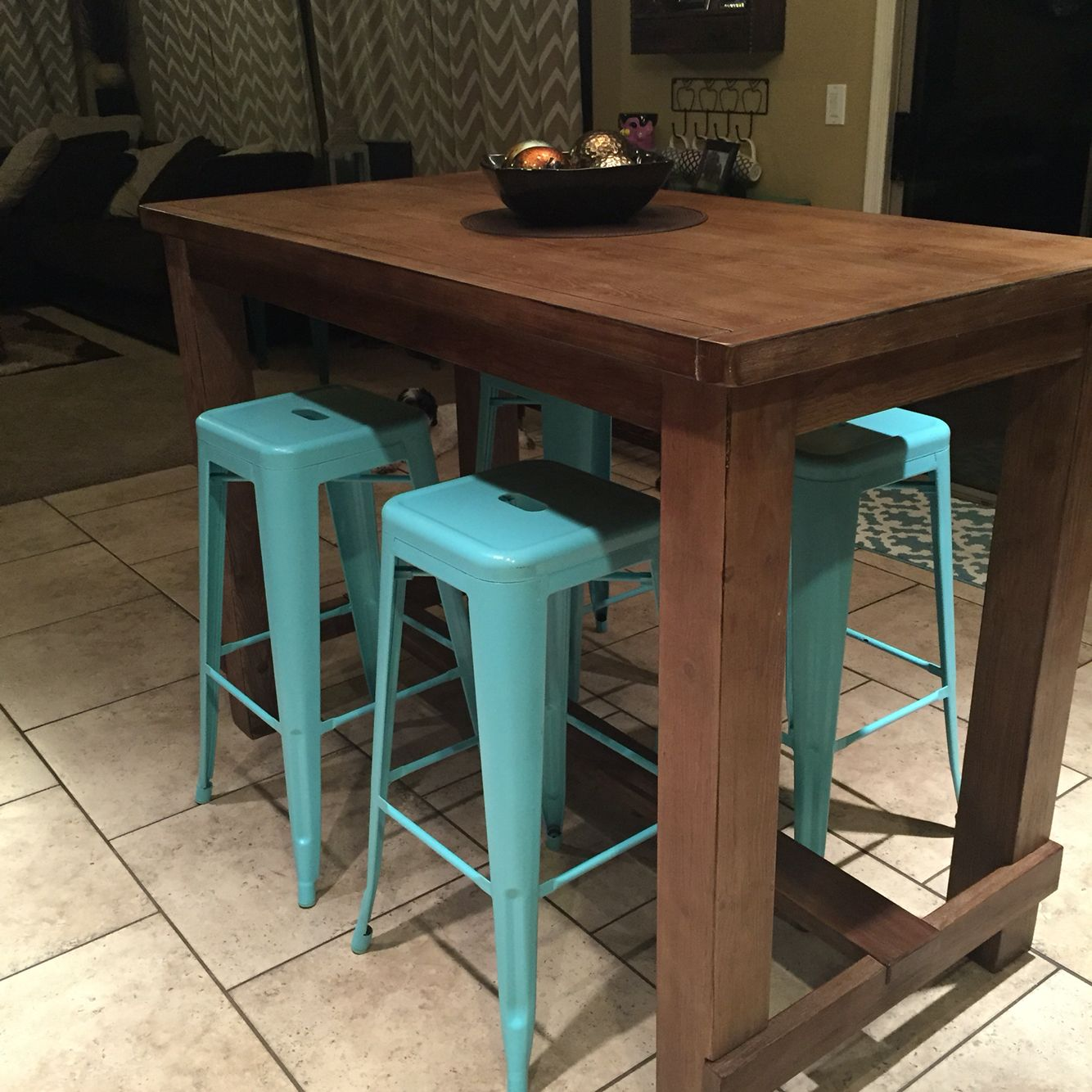 Spray Painted Stools With Tall Wooden Pub Style Table