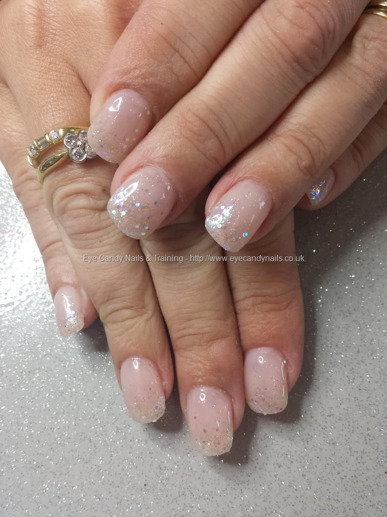 nude gel polish with glitter fade   make up, fingernails, toes
