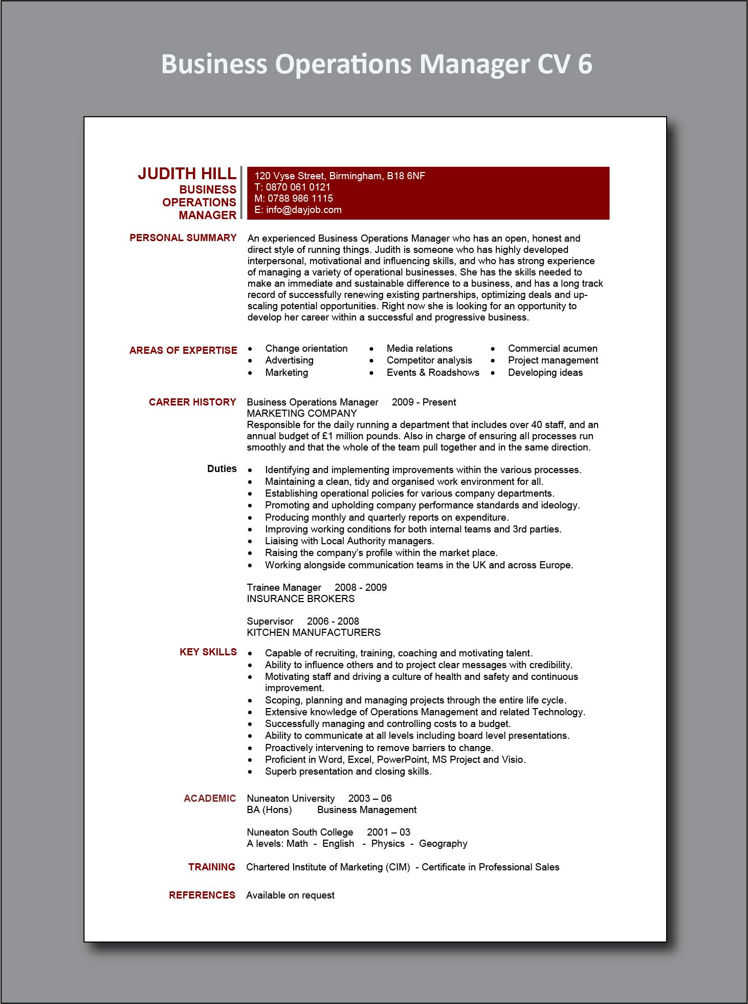 Business Operations Manager Cv 6 Example Operations Management Resume Examples Job Resume Examples