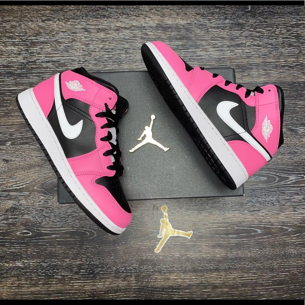 Jordan Shoes | Jordan 1 Mid Gs Pinksicle 7y | Color: Black/Pink ...