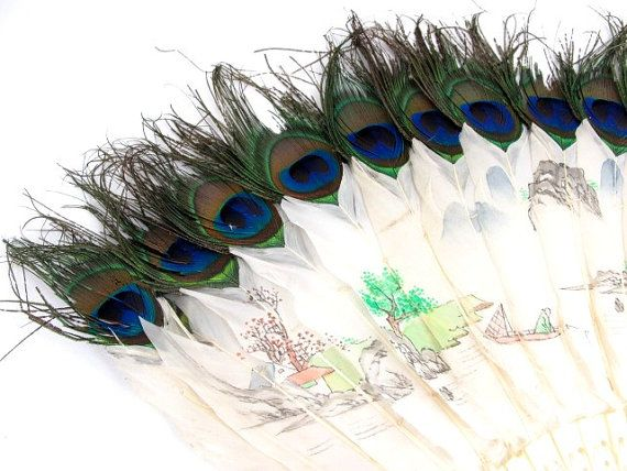 Items similar to Peacock Feather Hand Fan on Etsy