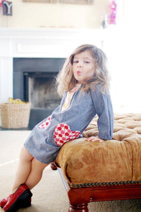 Sweetheart  pocket shifttunic dress by lolahpopvintagebaby on Etsy, $42.00