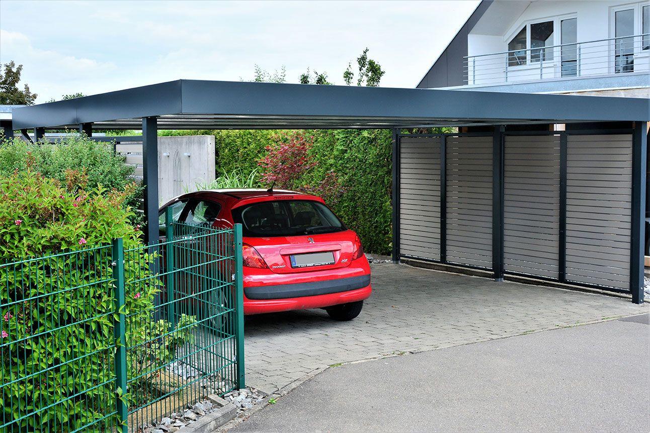 Doppelcarport Von Siebau Fur 2 Autos Mit Sichtschutzelementen Carport Bodenbelag Terrasse Haus Aussen