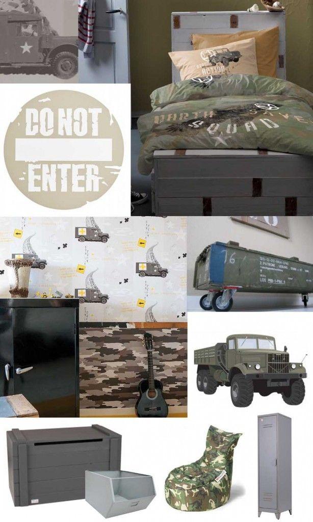 Stoere legerkamer en legerkamer accessoires lucas for Slaapkamer inrichting voorbeelden